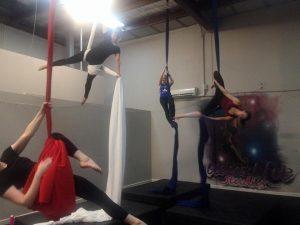 An aerial silks class